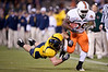 27 December 2008:  Miami Hurricanes fullback Patrick Hill (30) bounces off a hit during the second half of the California Golden Bears' 24-17 victory over the Hurricanes in 2008 Emerald Bowl at AT&T Park in San Francisco, California.