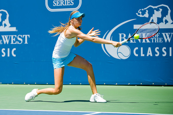 31 July 2009:  Daniela Hantuchova (SVK) during her 2-6, 4-6 loss to Elena Dementieva (RUS) in their singles match at the Bank of the West Classic in Stanford, CA.