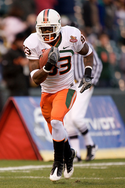 27 December 2008: Miami Hurricanes wide receiver Sam Shields (83)  warming up before the 2008 Emerald Bowl between the California Golden Bears and the Hurricanes at AT&T Park in San Francisco, California.  The Golden Bears prevailed 24-17 over the Hurricanes.