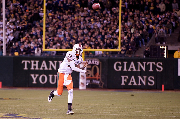 27 December 2008:  Miami Hurricanes quarterback Jacory Harris (12) throws down field for a first down during the second half of the California Golden Bears' 24-17 victory over the Hurricanes in 2008 Emerald Bowl at AT&T Park in San Francisco, California.