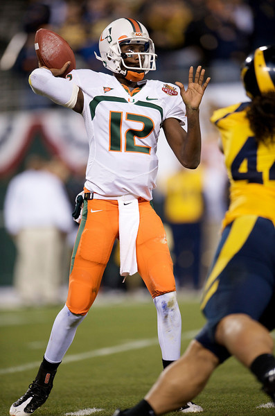27 December 2008:  Miami Hurricanes quarterback Jacory Harris (12) drops back to pass during the first half of the 2008 Emerald Bowl between the California Golden Bears and the Miami Hurricanes at AT&T Park in San Francisco, California.  The Golden Bears prevailed 24-17 over the Hurricanes.