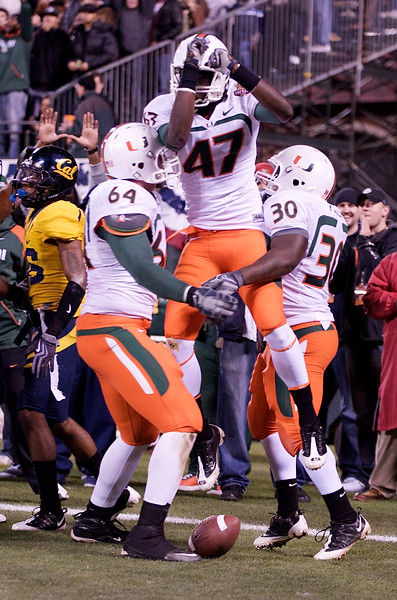 27 December 2008:  Miami Hurricanes wide receiver Laron Byrd (47) celebrates a touchdown catch in the end zone during the first half of the 2008 Emerald Bowl between the Golden Bears and the Hurricanes at AT&T Park in San Francisco, California.  The Golden Bears prevailed 24-17 over the Hurricanes.