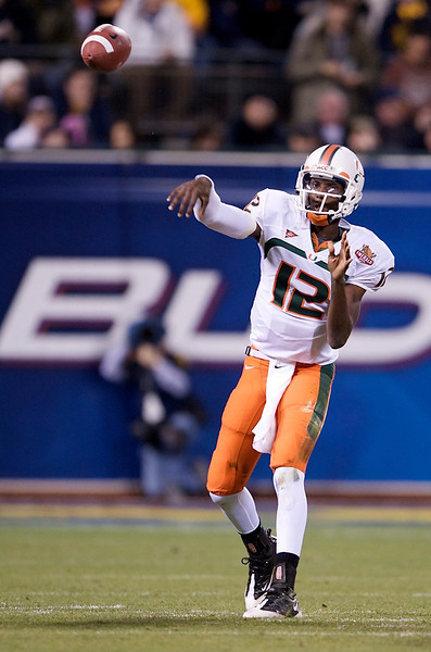 27 December 2008:  Miami Hurricanes quarterback Jacory Harris (12) passes up field during the first half of the 2008 Emerald Bowl between the California Golden Bears and the Miami Hurricanes at AT&T Park in San Francisco, California.  The Golden Bears prevailed 24-17 over the Hurricanes.