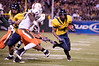 27 December 2008:  California Golden Bears running back Jahvid Best (4) turns the corner during the second half of the Golden Bears' 24-17 victory over the Miami Hurricanes in 2008 Emerald Bowl at AT&T Park in San Francisco, California.