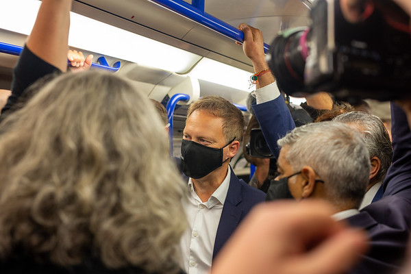 Guided by London's Transport Commissioner, Andy Byford, The Mayor of London and the Transport Secretary visit the Northern Line Extension on its first day, 20-09-21. They are seen heading to Battersea Power Station