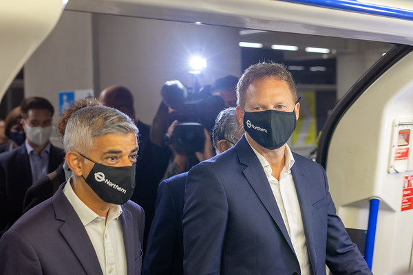The Mayor of London and the Transport Secretary visit the Northern Line Extension on its first day, 20-09-21. They are seen at Nine Elms