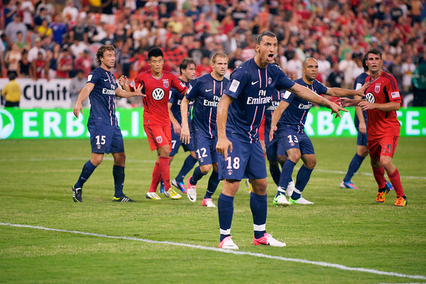 28 July 2012:  Paris Saint-Germain Forward Zlatan Ibrahimovi? (18) directs teams while defending a corner kick during DC United's  international friendly match against Paris Saint-Germain at RFK Stadium in Washington, DC.