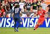 28 July 2012:  DC United Defender Emiliano Dudar (19) passes past Paris Saint-Germain Defender Maxwell (17) during DC United's  international friendly match against Paris Saint-Germain at RFK Stadium in Washington, DC.
