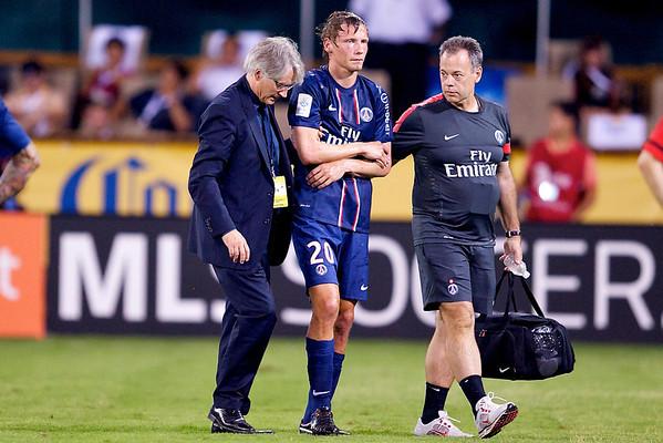 28 July 2012:  Paris Saint-Germain Midfielder Clément Chantôme (20) walks off the field injured during DC United's international friendly match against Paris Saint-Germain at RFK Stadium in Washington, DC.