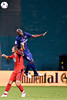 28 July 2012:  Paris Saint-Germain Defender Zoumana Camara (6) leaps over DC United Forward Hamdi Salihi (9) during DC United's international friendly match against Paris Saint-Germain at RFK Stadium in Washington, DC.