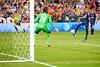 28 July 2012:  Paris Saint-Germain Defender Christophe Jallet (26) shoots on DC United Goalkeeper Bill Hamid (28) during DC United's international friendly match against Paris Saint-Germain at RFK Stadium in Washington, DC.
