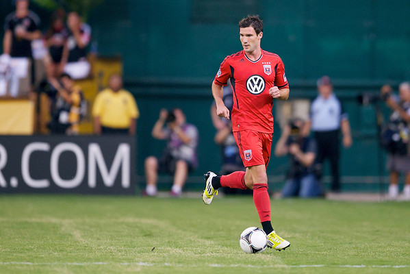 28 July 2012:  DC United Midfielder/Forward Chris Pontius (13) dribbles down the field during DC United's  international friendly match against Paris Saint-Germain at RFK Stadium in Washington, DC.