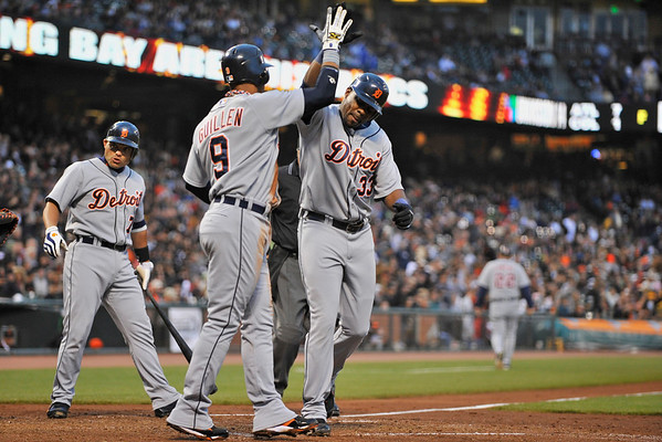 16 June 2008:  Carlos Guillen (9) congratulates Marcus Thames (33) after Thames' second homer during the San Francisco Giants' 8-6 victory over the Detroit Tigers at AT&T Park in San Francisco, CA.
