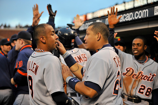 16 June 2008:  Carlos Guillen (9) and Miguel Cabrera (24) celebrate with Marcus Thames (33) and Curtis Granderson (28) in the background after Thames' second homer of the game puts Detroit ahead during the San Francisco Giants' 8-6 victory over the Detroit Tigers at AT&T Park in San Francisco, CA.