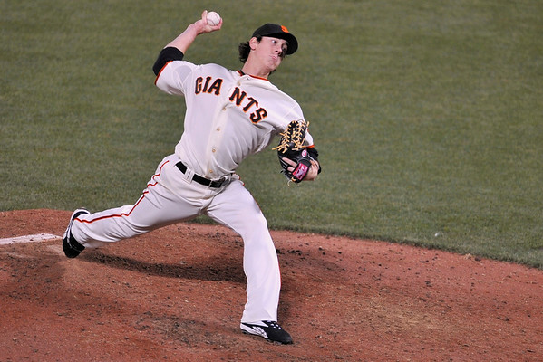 16 June 2008:  Tim Lincecum (55) during the San Francisco Giants' 8-6 victory over the Detroit Tigers at AT&T Park in San Francisco, CA.
