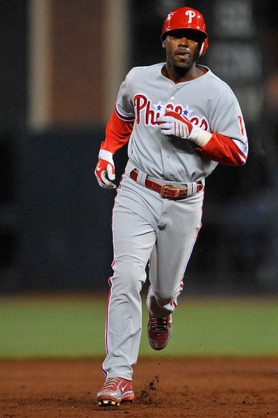 09 May 2008:  Jimmy Rollins (11) rounds the bases after homing during the Philadelphia Phillies' 7-4 victory over the San Francisco Giants at AT&T Park in San Francisco, CA.  This was Rollins' first game back in lineup after an extended period on the disabled list.