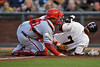 09 May 2008:  Emmanuel Burriss (7) slides safely at home before Carlos Ruiz (51) can apply the tag during the Philadelphia Phillies' 7-4 victory over the San Francisco Giants at AT&T Park in San Francisco, CA.