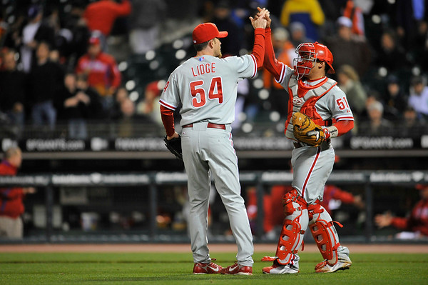 09 May 2008:  Brad Lidge (54) and Carlos Ruiz (51) celebrate after the Philadelphia Phillies' 7-4 victory over the San Francisco Giants at AT&T Park in San Francisco, CA.