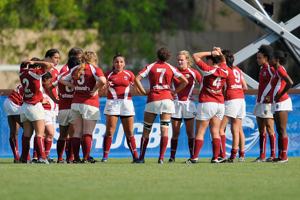 03 May 2008:  (not in order) Melissa Smit, Diana Peng, Erin Kobashingawa, Rachel Danforth, Kelsey Moss, Victoria Whittaker, Jacelyn Tseng, Jessica Watkins, Lindsay Innes, and Ramine Cromartie during Stanford's 15-10 victory over Penn State to win the Division I Women's Rugby National Championship match at Stueber Rugby Stadium in Stanford, CA.