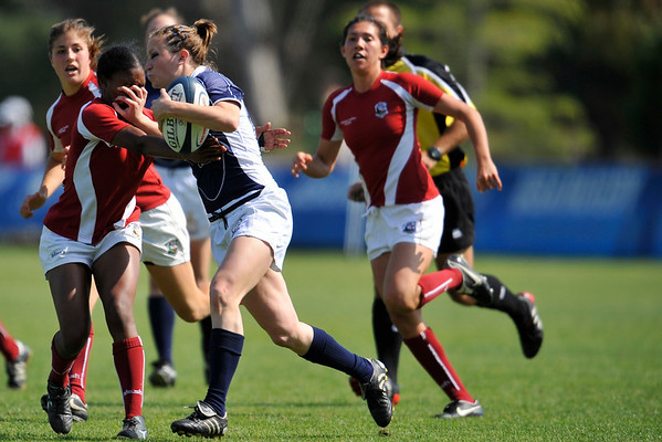 03 May 2008:  Ramine Cromartie gets a hand in the face while making a tackle during Stanford's 15-10 victory over Penn State to win the Division I Women's Rugby National Championship match at Stueber Rugby Stadium in Stanford, CA.