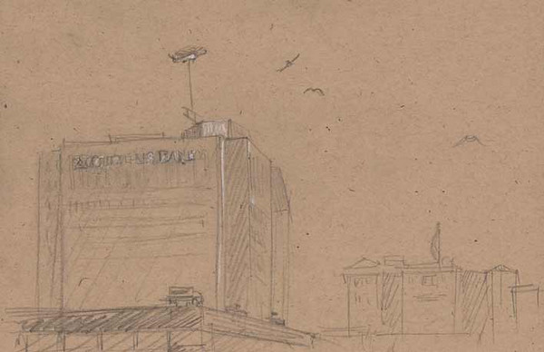 Pittsburgh Sketch/Crawl<br /> Organized by The Pittsburgh Cultural Trust Education Center<br /> Location: Citizens Bank - Market Square<br /> <br /> This sketch is in Market Square looking towards the Citizens Bank Building. There's a lot of work being done downtown Pittsburgh and it appears that sometimes you need a heliocopter to carry in pieces for the job.<br /> <br />  Medium: Pencil on Recycled Paper