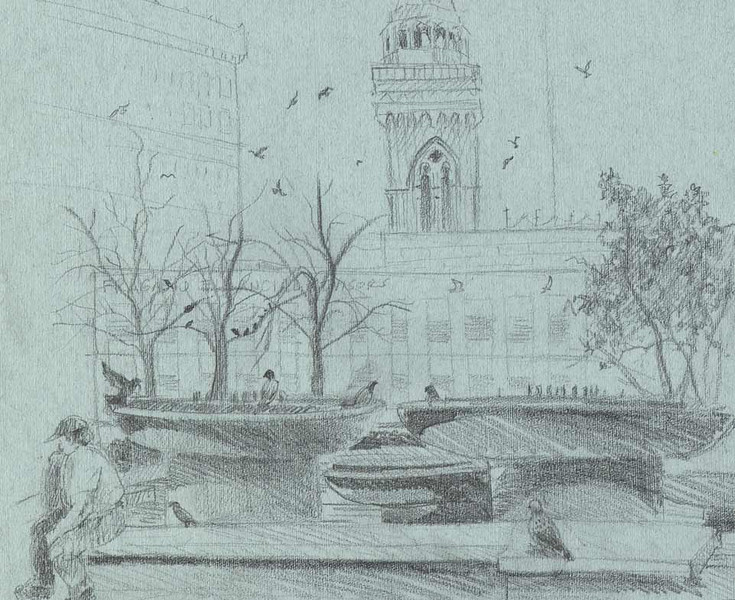 Pittsburgh Sketch/Crawl<br /> Organized by The Pittsburgh Cultural Trust Education Center<br /> Location: Mellon Square<br /> <br /> Though the fountains weren't turned on this day they still made wonderful images for sketching and some pretty big bird baths. Pittsburghers gather at Mellon Square to enjoy their lunches like the gentleman seated on the left and to listen to music.<br /> <br /> Such wonderful architecture.<br /> <br /> There are a lot of wonderful spots to rest, enjoy the day and sketch in downtown Pittsburgh. Yuns should try it sometime.<br /> <br /> Medium: Pencil on Light Blue Charcoal Paper