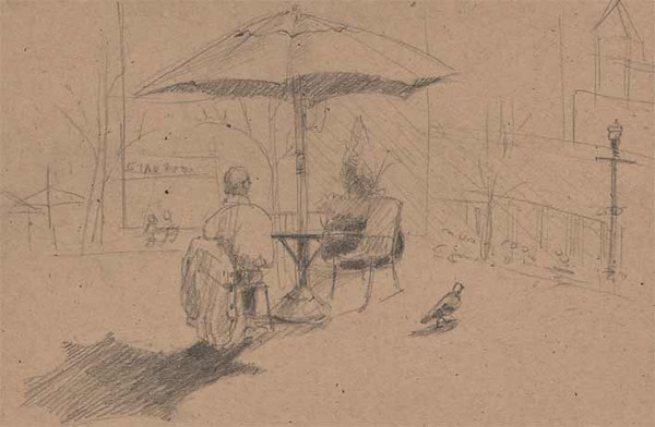 Pittsburgh Sketch/Crawl<br /> Organized by The Pittsburgh Cultural Trust Education Center<br /> Location: Market Square<br /> <br /> Market Square is a wonderful plaza to sit, grab some lunch, and enjoy the great variety of architecture all around. <br /> <br /> I love drawing on this natural recycled paper. There are bits of pulp and chips that you can see in the drawing above. <br /> <br /> Medium: Pencil on Recycled Paper