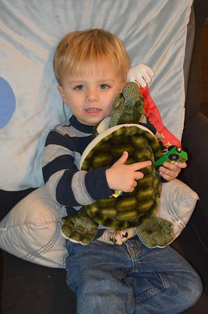 Everett with class stuffed Sea Turtle