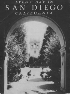 Back cover - Balboa Park - looking east  across the plaza,  south side.