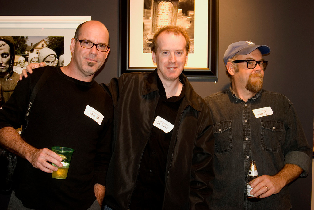 "Myself with the founders of WEIRD NJ in front of my photo ""Died of a Horrible Accident""<br /> <br /> The Weird NJ photography group exhibition<br /> Noyes Museum of Art<br /> Oceanville, NJ<br /> October 16 - February 28, 2010"