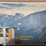 """Yosemite Tunnel View Inspiration Point Panorama""  Here is my largest pictures at a customer site -a 60 foot by 10 foot Yosemite Tunnel View panorama at a Bay Area company. It was printed on 16 - 4 foot wide panels and looks amazing! Nothing like Yosemite in your office!! Do you need one?!  This is a great image for a Corporate Mural or Fine Art Mural Installation.  Murals allow you to fill up large spaces and incorporate fine art to liven any space.  My images are captured for ultra high resolution Gigapixel Panoramas to give amazing depth and imagery.   How did I create this?  This was an 11 shot panorama shot and stitched together in AutoPano Pro.  The image was resized to 45' by 10' using OnOneSoftware's Perfect Resize 7 (formerly Genuine Fractals)   It is pretty incredible to see an image this large!"