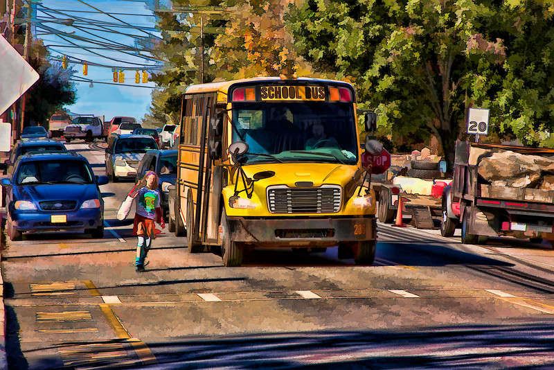 School Bus in Weaverville, NC. October 2009. Edited using Photoshop and Topaz Filters.