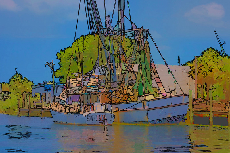 Scene from the Sponge Docks, Tarpon Springs, Florida 2009. Changes made to the photo made using a Topaz plugin.