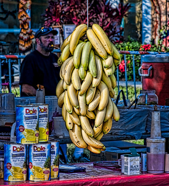 """""""Bananas, Pineapple, and a Cigar"""" taken at the Dunedin Art Harvest, Dunedin, FL.  Edited using Photoshop and Topaz Filters."""