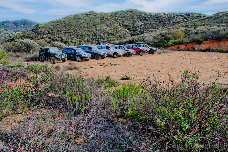 Line up of all of the rigs.  Dirt was a rare find on this trip!