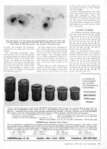 """Brandon eyepieces in the late 1960's continued to improve. By Sept 1968 they were advertised as being parafocalized, and threaded to accept """"Vernonscope Filters"""". (In the examples I own of the prior series Brandon oculars had NO provisions for filters at all due to lack of threads on the bottom of the eyepiece barrel.)They also were individually cased in a black vinyl pouch with belt loop. It should be noted that to this day Brandon threading is unique to Vernonscope filters only!"""
