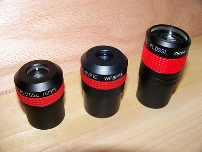 Here are Edmund Plossl eyepieces. The 8mm is a Wield field, and differs from a Plossl because of an extra element. Might be even be considered a variation of a RKE by some.