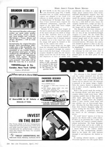 Brandon eyepieces - old style as per advertisement April 1967. This chrome barrel appearance was the original style of the entire Brandon Series for quite a number of years and was the way Chester Brandon sold them in the early 1960's, 1950's and perhaps 1940's. In 1962 Donald Yeier bought the rights to the Brandon eyepieces and sold them under the Vernonscope name. (Vernon was Don's middle name.)  It is interesting to note that by September of the same year this series was now produced in black barrels. Thus 1967 was the change over year from chrome to black barrels similar to today. The information above suggests perhaps demand may have exceeded availability due to production issues.