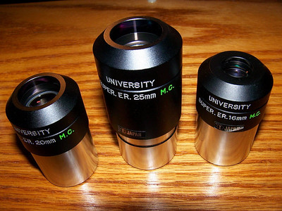 "Here are some representitives of University Optics ""Super Erfles"". The green lettering stands for Multi Coated."