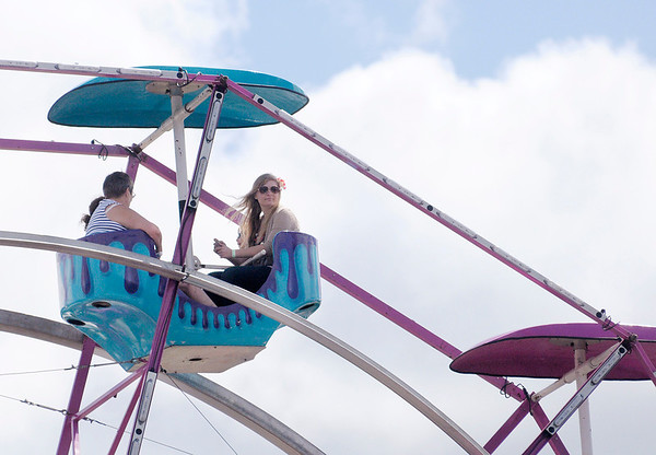 Don Knight/The Herald Bulletin<br /> The Family Wheel offers a high perspective over the fair grounds.