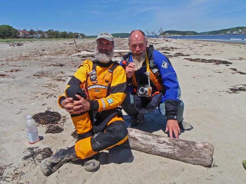 John & Bill, Popham Beach, ME at the mouth of the Kennebeck River. Chasing the tide race.