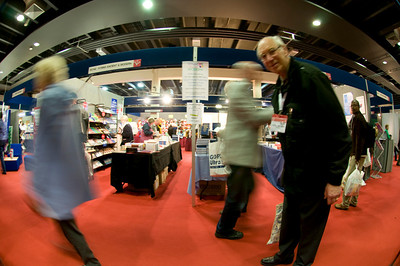 Punters at CRE walk past the Hymns Ancient & Modern stand.