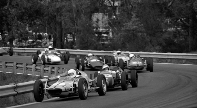 Lynton Hemer's shot  of the leading drivers in the main Formula Vee event in the Esses at Warwick Farm November 22, 1970. This was my last race in Formula Vee before traveling to Canada and on to England and Europe to drive Formula Ford in 1972/3.<br /> <br /> Leading is Bernie Haehnle in the ex-Ken Goodwin Hahn Rennmax, Here followed by Enno Busselman in the Trips Vee, Alan Tucker (Rennmax), Gerry Murphy (Mako # 7) and me in Gary Campbell's Provincial Motors' Standfast. This must be on the first lap as Bernie cleared out from the group later in the race.