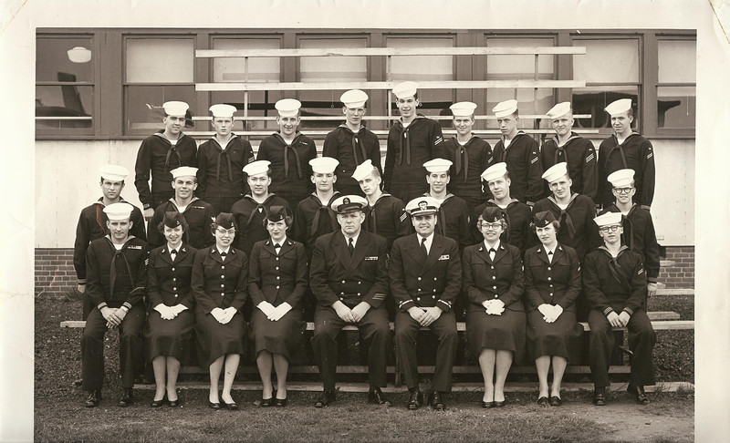 "From an Email from Frederick A. Larson dated December 12, 2011 . . .<br /> <br /> April 27, 1956 - CLASS A TELEMAN SCHOOL - Class 15-56 - Service School Command USNTC BAINBRIDGE.<br /> <br /> ""THE TELEMAN SCHOOL PICTURE HAS  BOTH ME AND MY WIFE IN IT . . .<br /> SHE IS  IN FRONT ROW 2ND FROM RIGHT. (FIRST  WAVE)<br /> I AM IN SECOND ROW 2ND FROM LEFT""."