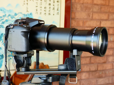 FZ1000 camera fully zoomed to 400mm with Olympus B300 teleconverter attached.  Using Manfrotto support bracket.