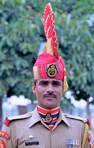 Border Security Force guard at the India Pakistan border at Wagah, India.