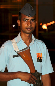"Guard at ""Amar Jawan Jyoti"", the eternal flame at India Gate, Delhi, India."