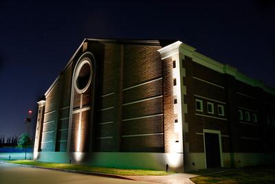 Night shot of Gymnasium Jan 2009. Photo By Geoff Blumber