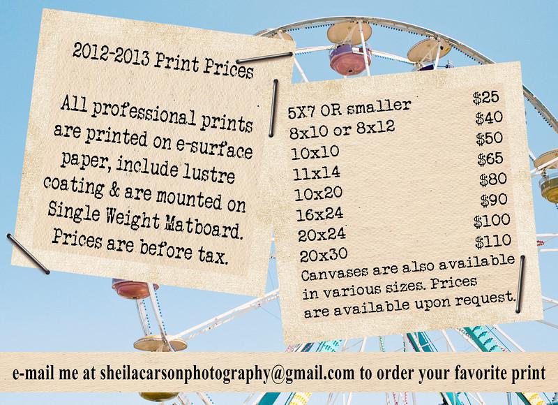 2012-2013 Print Price List