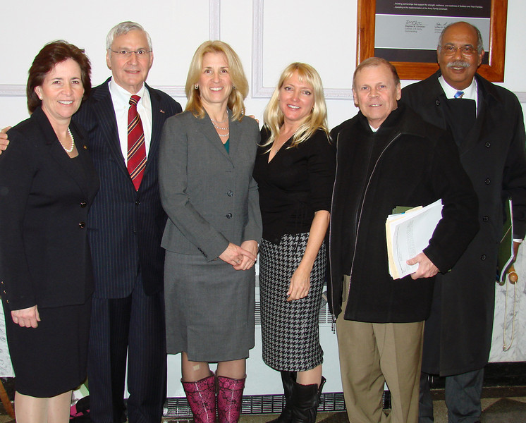 After the successful Monmouth County Board of School Estimate meeting on February 25, at which time the the Board pledged to support Brookdale's $27 million operating and $3 million capital funding requests, Brookdale officers showed their pleasure: from left are Acting President Margaret McMenamin, Board Vice Chair Josh Elkes, Brookdale Executive Director Maureen Lawrence, Board and Board of School Estimate Member Joan Raymond, Chief Financial Officer George Fehr, and Government Relations VP Webster Trammell.